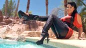 Brunette with Jeans and Corsage in Pool