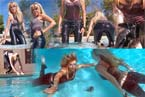 swimming and diving with leather outfit in pool