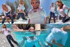 blonde woman with jeans and high-heels swims and dives in water